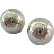 Sterling Silver 925 Etched Button Clip Earrings
