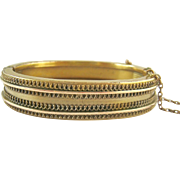 Victorian Etruscan Revival Gold Filled Hinged Bangle Bracelet Small Size
