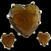 Benedikt Topaz Glass Heart Brooch Clip Earrings Set