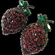 Pair (2) Warner Strawberry Rhinestone Pins Brooches