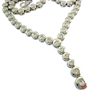 Silver Tone Y-Shaped Necklace with Clear Rhinestones