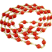 50% SALE Coral Colored Gemstone, Freshwater Pearl and Gold Tone Bead Endless Necklace 31 Inches