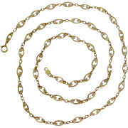 14K Gold Lacy Link Necklace Signed