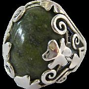 Sterling Silver 925 Connemara Marble Shamrock Ring Ireland Original Box