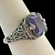 Sterling Silver 925 Amethyst Filigree Ring