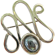 Sterling Silver 925 Hematite Open Wavy Pin Brooch