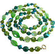 Vogue Shades of Green Faceted AB Glass Necklace Hand Knotted