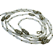 Long Clear Elongated Twisted Art Glass Bead Necklace with Multi-Row Rhinestone Rondelles 48 Inches