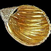 14K Gold and Diamond Shell Pendant Slide
