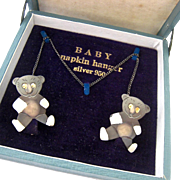 950 Silver Teddy Bear Baby Bib Napkin Holder Original Box