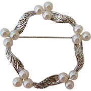 Sterling Silver 925 and Cultured Pearl Wavy Circle Pin Brooch