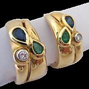 14K Gold Gemstone Omega Clip Earrings Emerald Sapphire Diamond