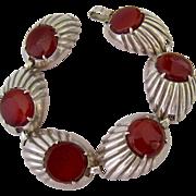 Sterling Silver 925 Carnelian Bracelet Chunky Deco Design Signed Otis