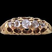 Antique 18K Gold Rose Cut Diamond Five Stone Band Ring 1912 Birmingham Hallmarks