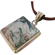 Sterling Silver 925 Jasper Pendant Necklace on Leather Cord