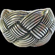 Sterling Silver 925 Wide Basketweave Ring
