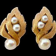 14K Gold Cultured Pearl Screw Back Earrings Elegant 7.1 Grams