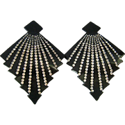 Huge Black and Sparkly Rhinestone Art Deco Clip Earrings Early Plastic Celluloid