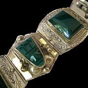 Sterling Silver 925 Green Gemstone Tribal Face Bracelet Taxco