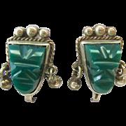 Sterling Silver 925 Green Gemstone Tribal Face Screw Back Earrings Taxco