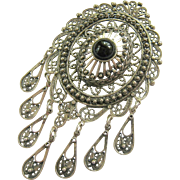 Large Sterling Silver 925 Cannetille Dangle Brooch Pendant