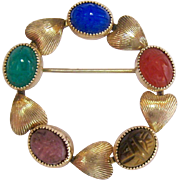 12K Gold Filled Gemstone Scarab Heart Circle Pin Signed