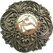 Large 800 Silver 10K Gold Brooch Pendant Marcasites Hand Made Greece