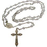 Sterling Silver 925 Clear Faceted Crystal Rosary