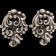 Sterling Silver 925 3 Dimensional Open Work Design Screw Back Earrings