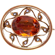 14K Gold Madeira Citrine and Seed Pearl Brooch Edwardian