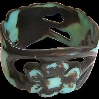 Fun Chunky Bangle Bracelet Cut Out Floral Design