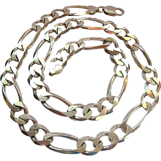 Heavy Sterling Silver 925 Figaro Link Necklace 20 Inches 80.3 Grams