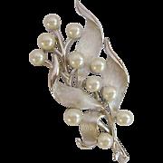 Crown Trifari Silver Tone and Simulated Pearl Brooch