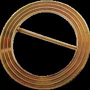 Older Tiffany & Co 14K Gold Ribbed Open Circle Pin