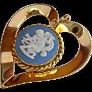 Wedgwood Jasperware 12K Gold Filled Heart Pendant