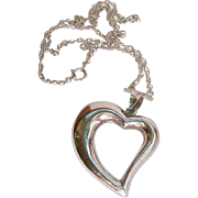 Sterling Silver 925 Large Heart Pendant Necklace Unusual Chain