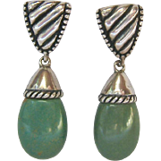 Sterling Silver 925 Earrings Green Turquoise Dangle Signed Carolyn Pollack