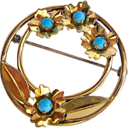 Gold Filled over Sterling Brooch Round with Simulated Turquoise Cabochons Signed