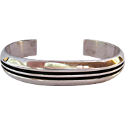 Substantial Sterling Silver 925 Ribbed Cuff Bracelet Signed FJ Navajo Native American
