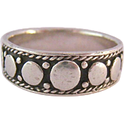 Sterling Silver 925 Band Ring Dot and Rope Design Slightly Graduated Signed