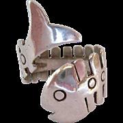 Sterling Silver 925 Fish Skeleton Wrap Ring Adjustable Signed Mexico Eagle Mark 3