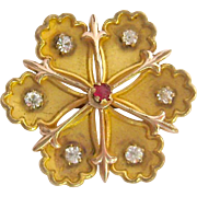 Art Nouveau Gold Filled Pin with Paste Stones Signed PS Co