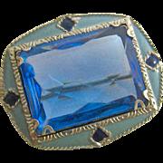 Ar Deco Enamel and Blue Paste Silver Tone Pin