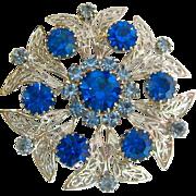 Large Celebrity N.Y. Brooch Silver Tone Blue Rhinestones
