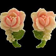 Colorized Celluloid Rose Flower Screw Back Earrings Japan