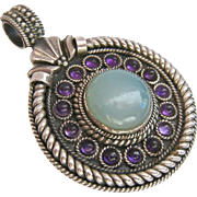 Sterling Silver 925 Gemstone Pendant Amethyst Chalcedony Large