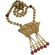 Tan and Red Earthy Jasper Bead Necklace with Large Centerpiece Hand Knotted
