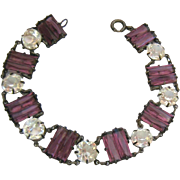 Art Deco Sterling Silver 925 Amethyst and Clear Paste Bracelet