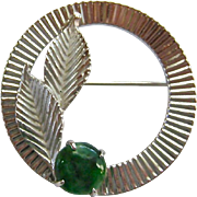 HSB Harry S Bick & Son Sterling Silver 925 Circle Pin with Green Gemstone