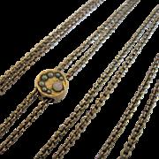 Gold Filled Victorian Watch Muff Guard Chain Opal Split Pearls Slide Signed JFSS John F. Sturdy Sons